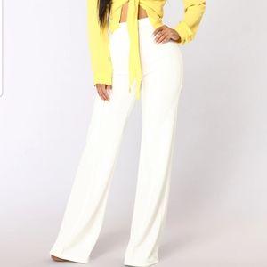 White fashion nova high waisted dress pants